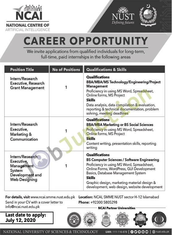 Jobs In National University Of Sciences Technology Nust 28 June 2020