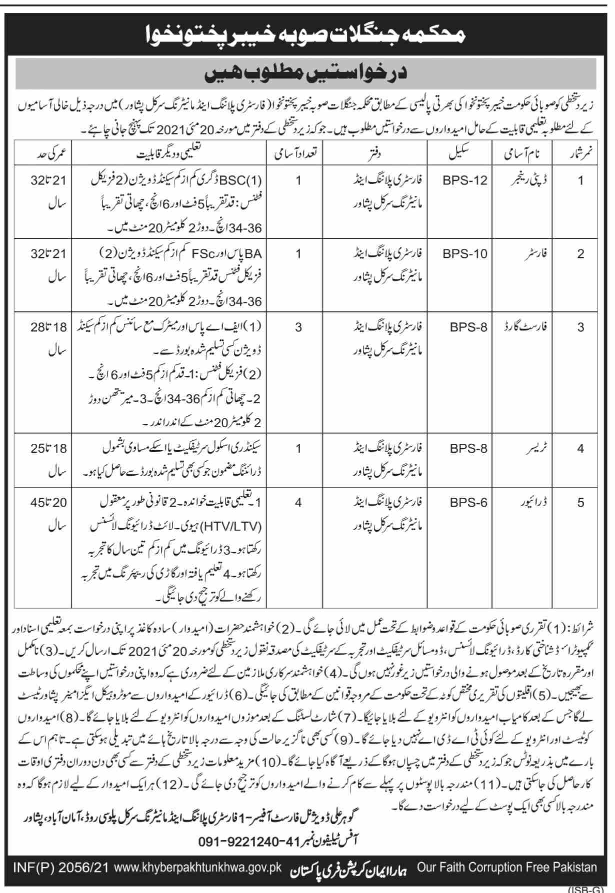 Forestry Environment & Wildlife Department Jobs 2021