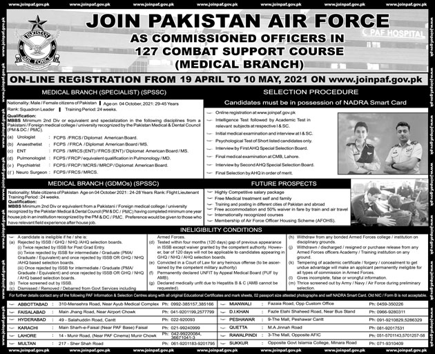 Jobs in Pakistan Air Force PAF As Commissioned Officers