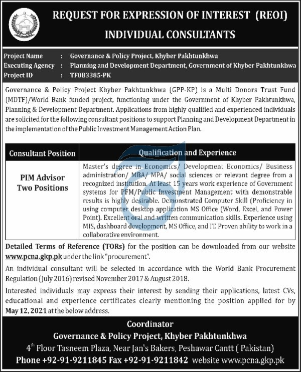 PIM Advisor Jobs in Governance & Policy Project Khyber Pakhtunkhwa
