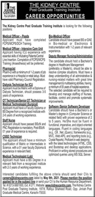 The Kidney Centre Post Graduate Training Institute Jobs 2021