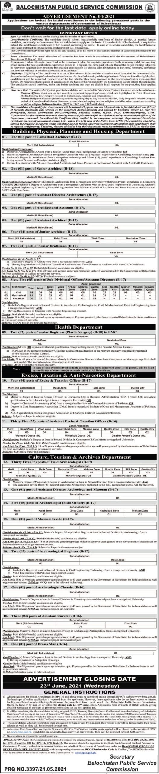 Balochistan Public Service Commission BPSC Jobs May 2021