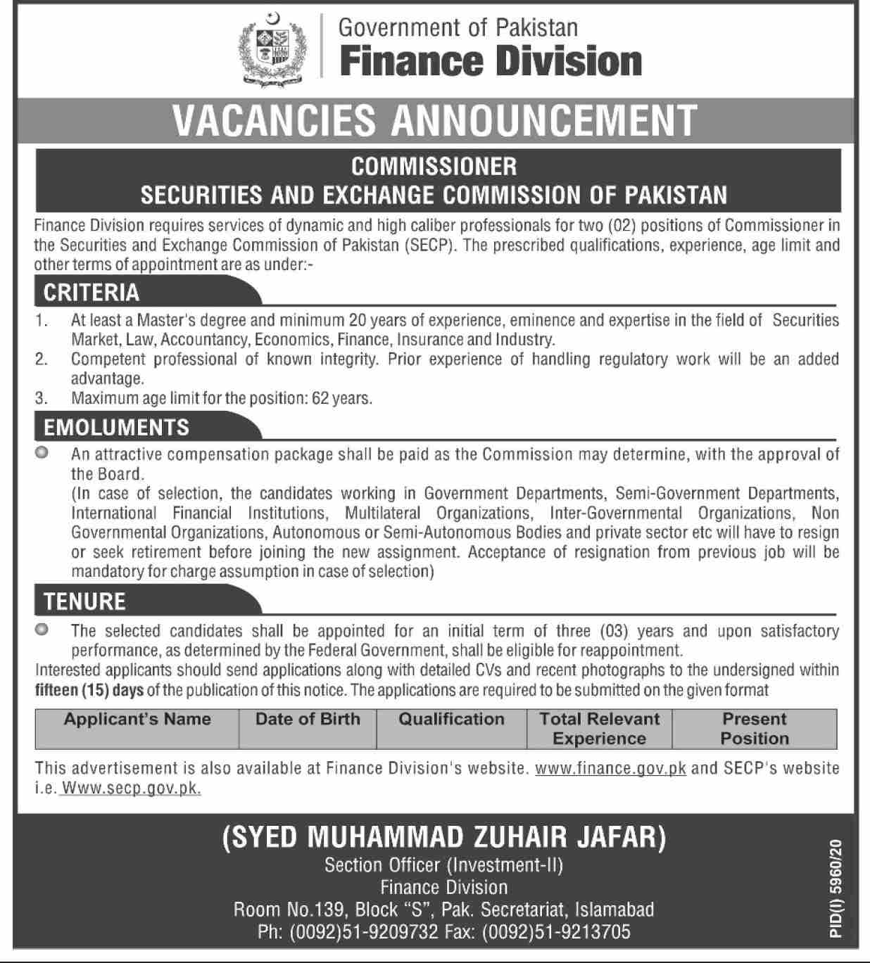 Finance Division Government of Pakistan Jobs 2021