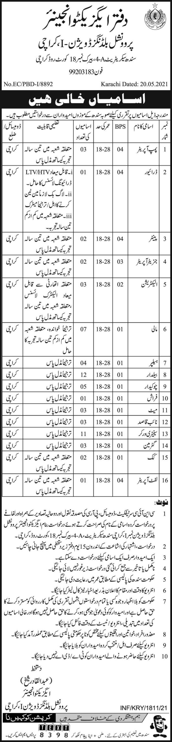 Jobs in Provincial Buildings Division Government of Sindh