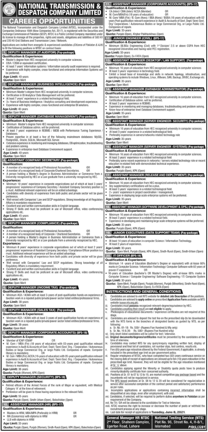 National Transmission and Despatch Company NTDC Jobs May 2021