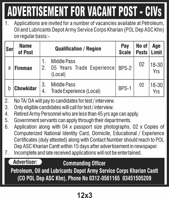 Petroleum Oil and Lubricants Depot Army Services Corps Jobs 2021