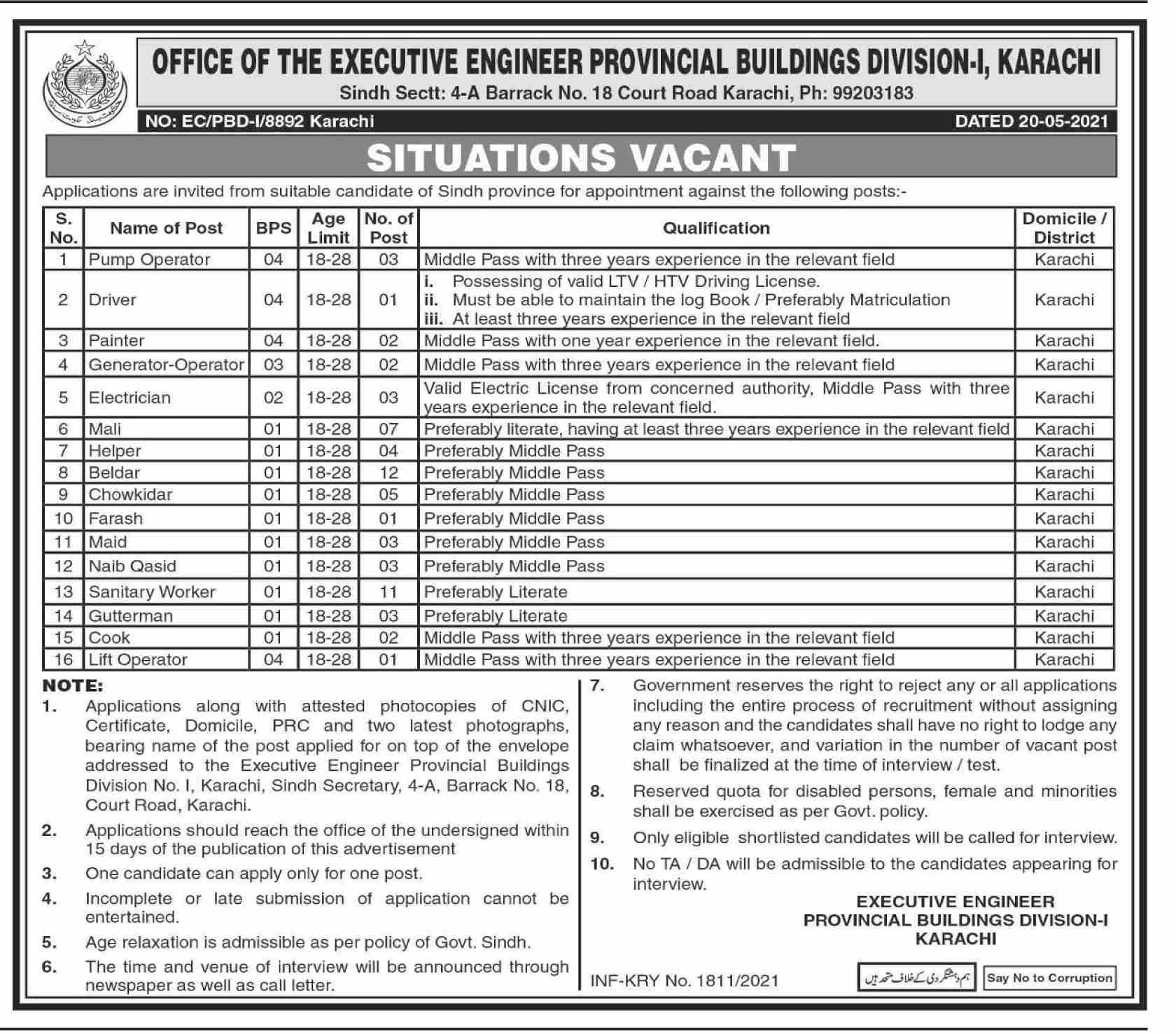 Provincial Buildings Division Jobs May 2021
