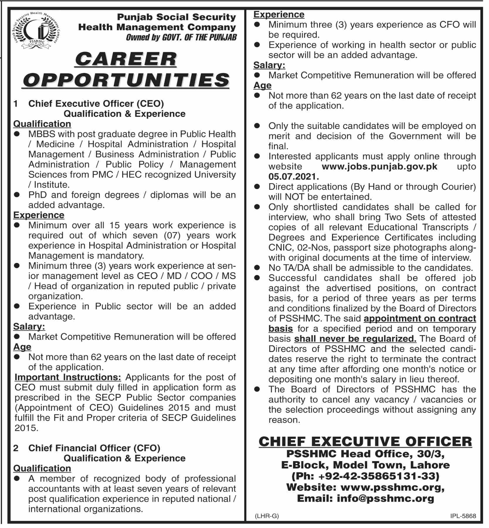 CEO Jobs in Punjab Social Security Health Management Company PSSHMC