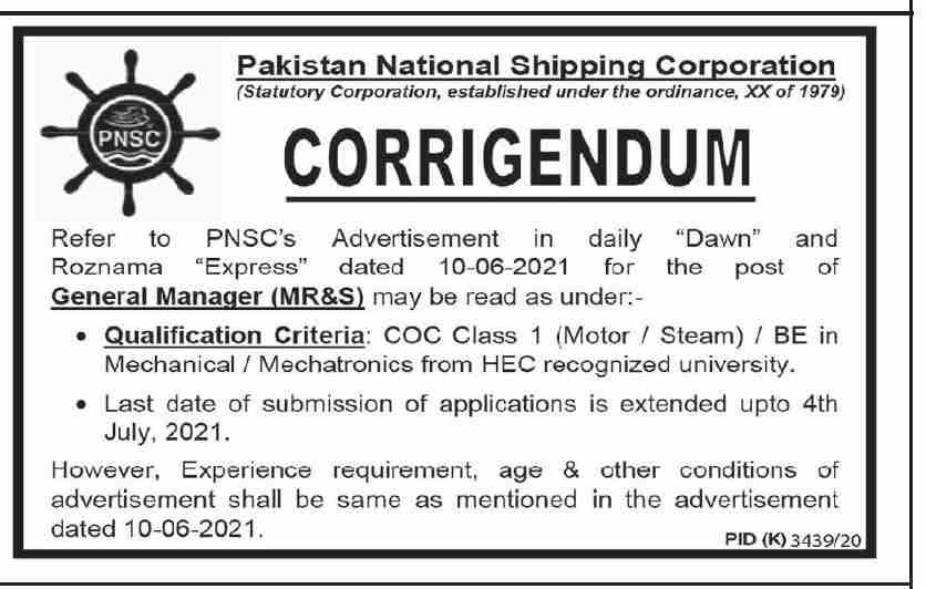 General Manager MR&S Jobs in PNSC Pakistan National Shipping Corporation