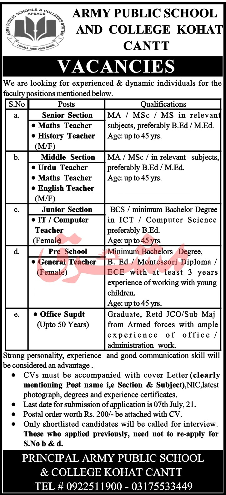 Jobs in Army Public School and College Kohat Cantt