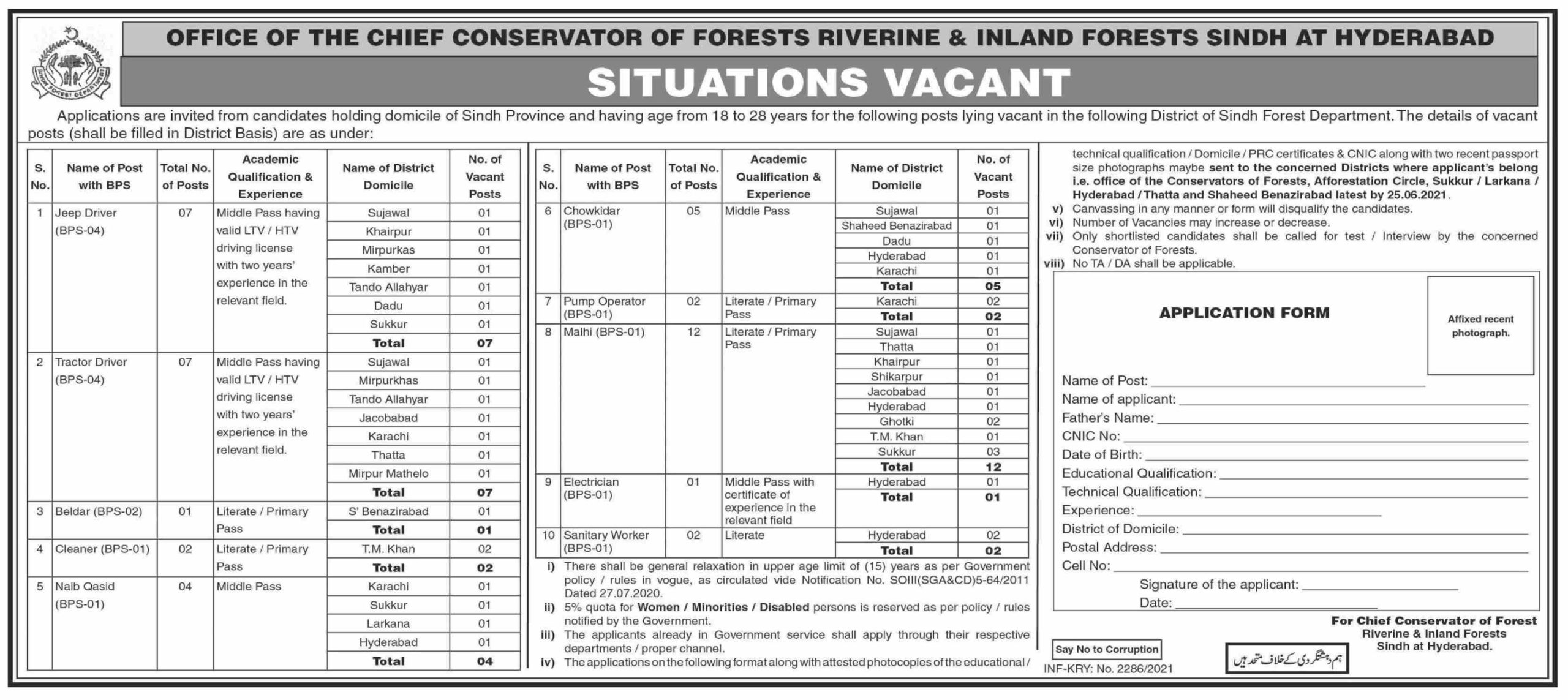 Jobs in Chief Conservator of Forests Revirine & Inland Forest Sindh