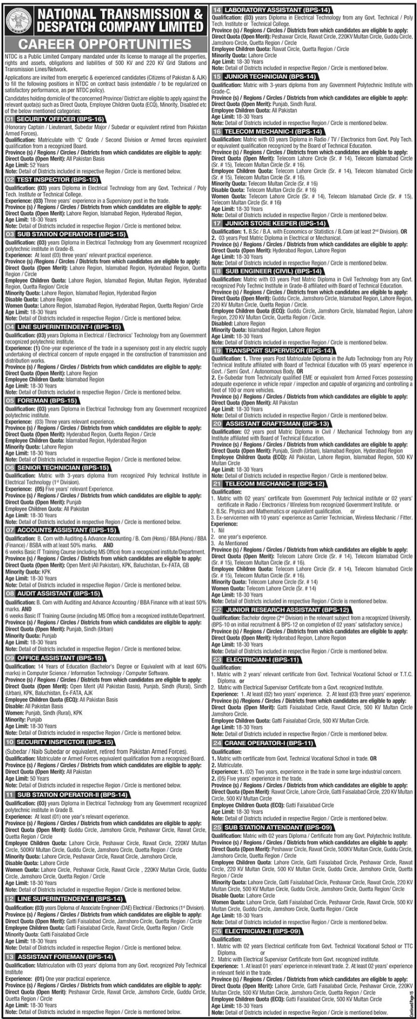 National Transmission and Despatch Company NTDC Jobs June 2021