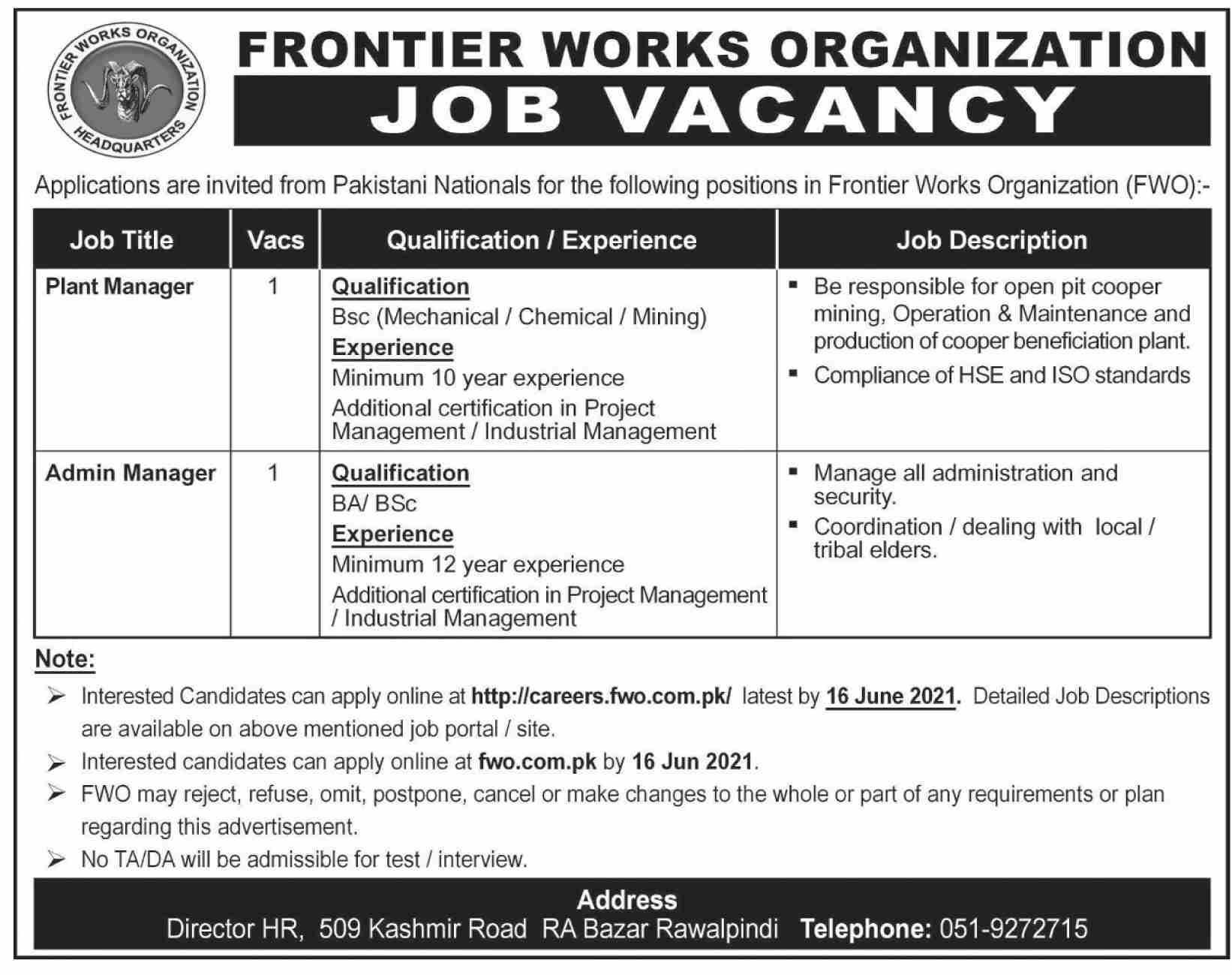 Plant Manager & Admin Manager Jobs 2021 in FWO Rawalpindi