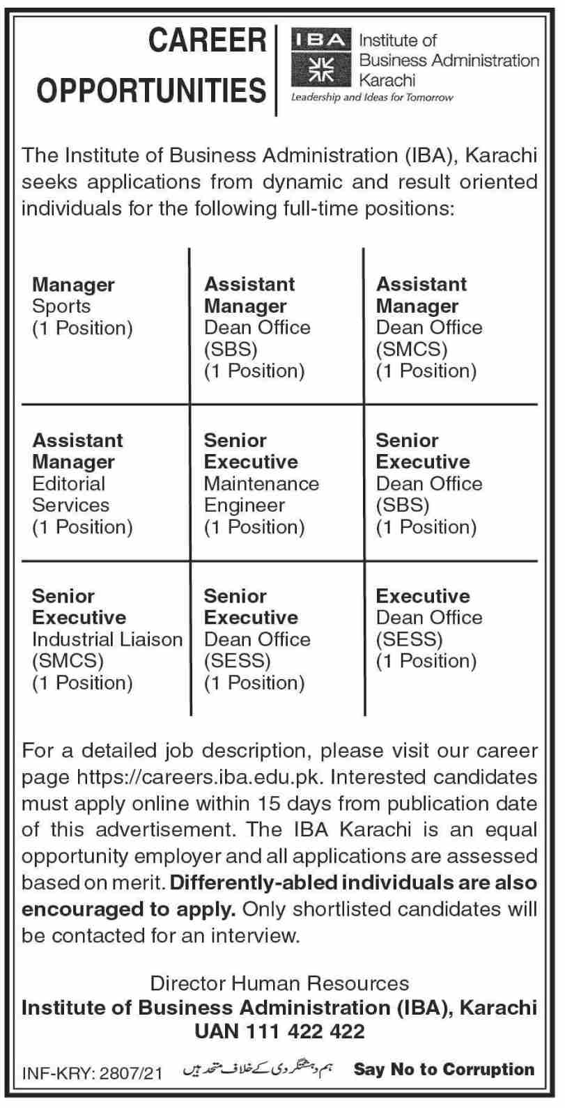 Institute of Business Administration IBA Jobs July 2021 in Karachi